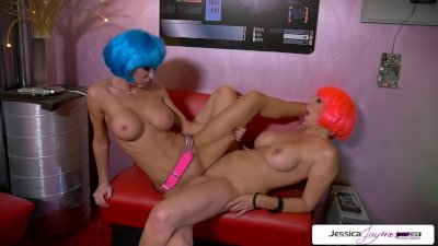 Cute teen lesbians play with their wet pussies