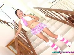 Pretty Asian whore likes to be bent over stairs and fucked doggie-style RAW