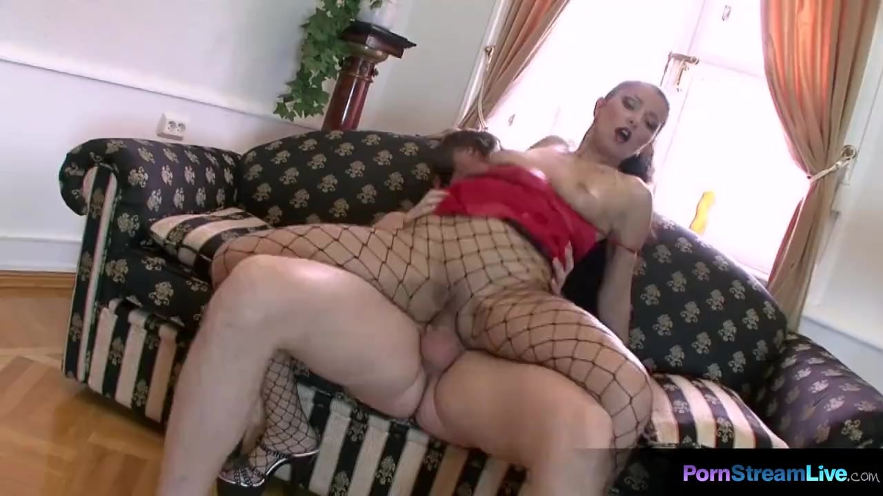 The sexy Julia in fishnet pantyhose fucking her lucky slave