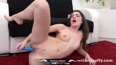 Wetandpuffy - Brunette Zena Little toy her puffy pussy with rabbit vibrator