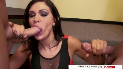 First Class POV - Kendall Karson suck two big dicks at same time