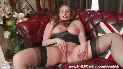 Stunning brunette tease Vicky Love fingers pussy in sheer nylon pantyhose