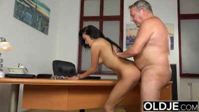 Caught Grandpa Having Sex With Young Brunette At Job Interview