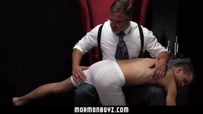 MormonBoyz-Bubble Butt Bottom Spanked and Probed by Handsome Dom Daddy
