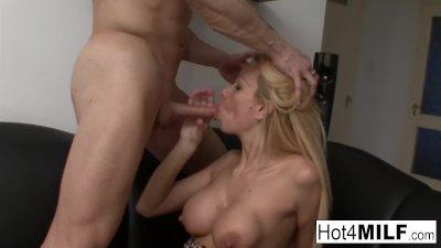 Hot Hungarian MILF gets cum on her big tits