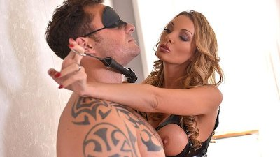 Dominatrix Stacey Saran uses her Slaves Cock and Face to Cum Hard