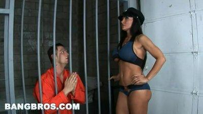 BANGBROS - Big Tits MILF Cop Lisa Ann Grants Final Wish To Criminal In Jail