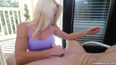 Blonde milf handjob