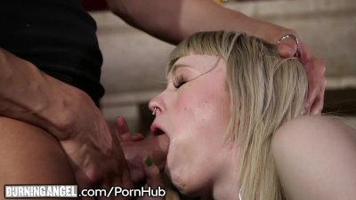 Little Blonde Emo Babe Creampied after Intense Fucking