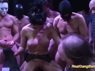 The Swinger Experience Presents cute Salma de Nora in a real gangbang orgy
