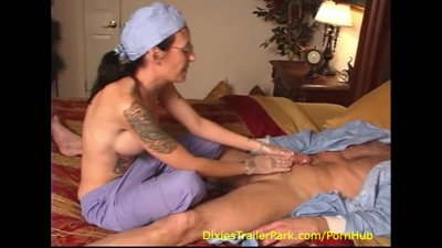 HAND job from his NURSE