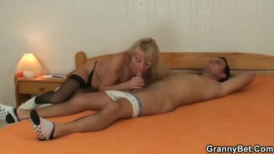 Young dude picks up and fucks blonde granny
