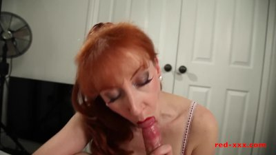 Milf Red sucked and fucked her way to orgasm after orgasm