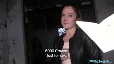 Public Agent Innocent looking ginger girl fucked over a car bonnet