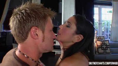 Hot brunette Suzanne Kelly takes a hard dick