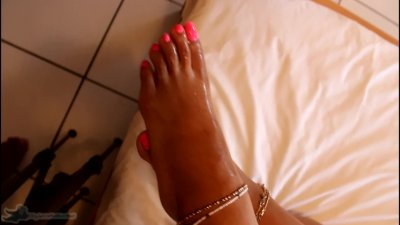 My Feet and Pink Toes get Creamed with a Huge Load of CUM - Cumshot clip
