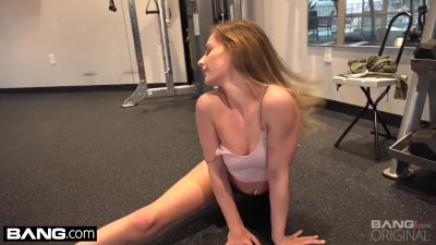 Sydney Cole Peek of her pussy in the gym