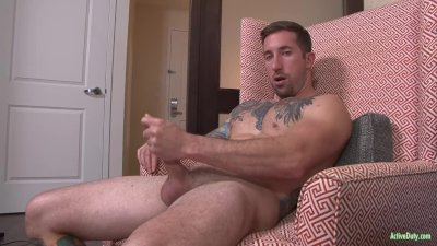 Built Jock Brad Jerks his Cock for Active Duty!