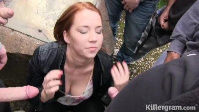 Killergram Candi Blows goes daytime dogging sucking lots of cocks