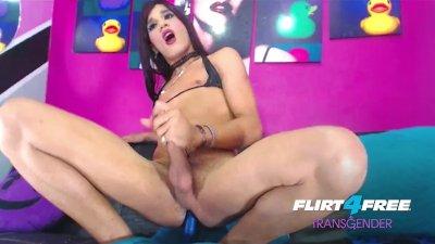 Samanta Herrera on Flirt4Free Transgender - Latina TS Cums Riding Dildo