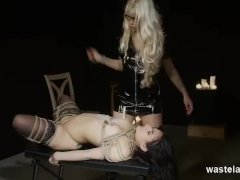 Submissive Brunette In Bdsm Rope And Toy Play With Goddess Starla