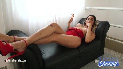 Smoking and Masturbating Shemale