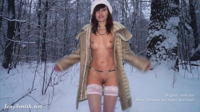 White stocking outdoor snow fight. Happy New Year wishes from Jeny Smith