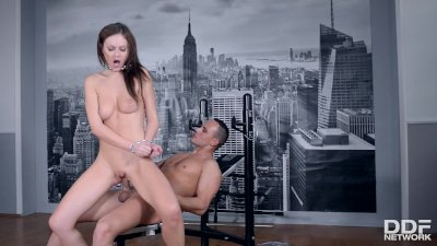 Super slut Tina Kay chained up and Ass Fucked at the Gym