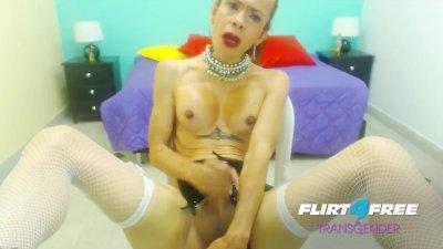 Talia Hot on Flirt4Free Transgender - Mature Shemale Smokes While Stroking