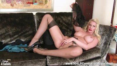 Posh busty blonde Danielle Maye strips off lingerie masturbates in nylons