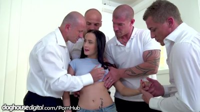 StepDaughter DP Gangbanged by StepDad and All His Friends!