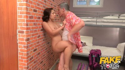 Fake Hostel - Young traveler dirty from Thailand trip gets sloppy wet fuck