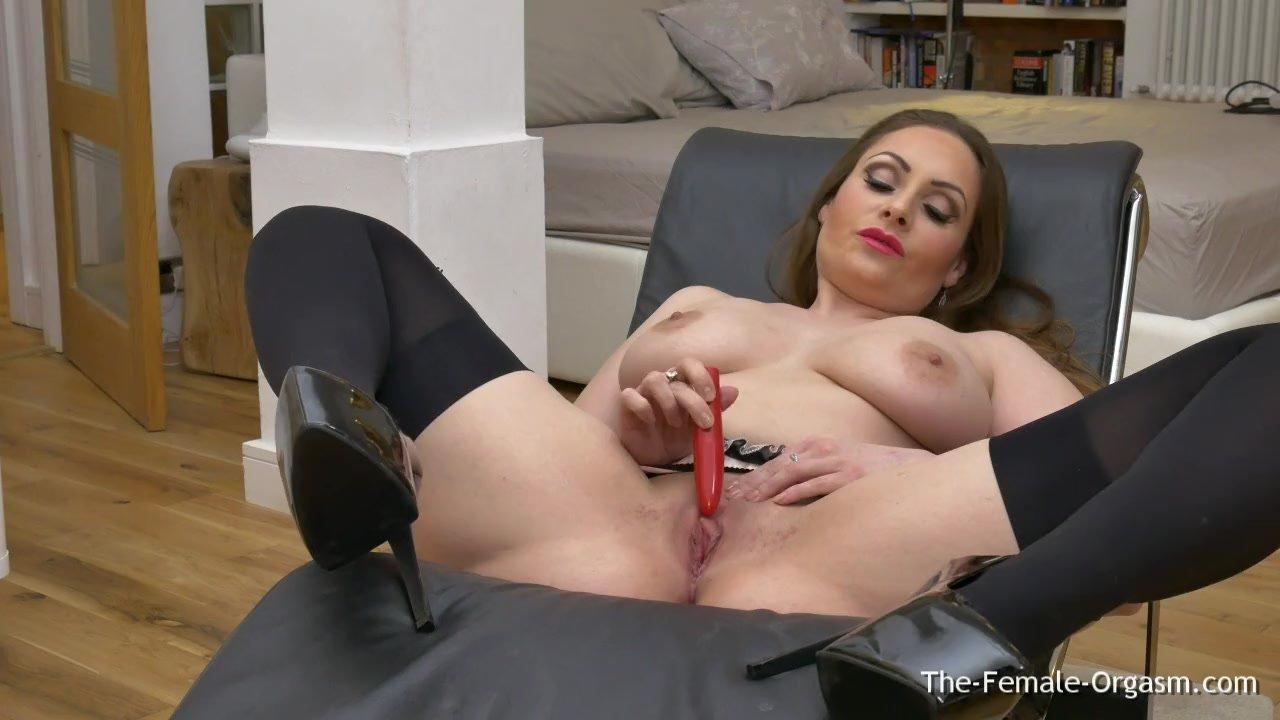 Femorg MILF with Big Naturals Solo Masturbation with Vibrator to Orgasm