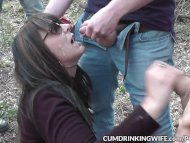 The Swinger Experience Presents Slutwife gangbanged by many strangers at a wooded dogging spot