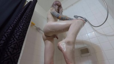 Tall Tgirl in the Shower