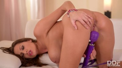 Busty Sex Goddess Sensual Jane teases her Clit with a Vibrator