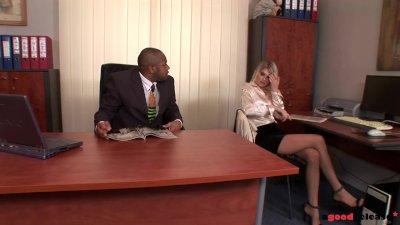 Nympho Secretary Wiska gets her 1st Interracial Anal Fuck