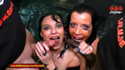 Two German Moms get their Big tits covered in Piss - 666Bukkake