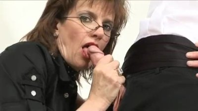 British MILF Sonia let's young friend cum on nylons