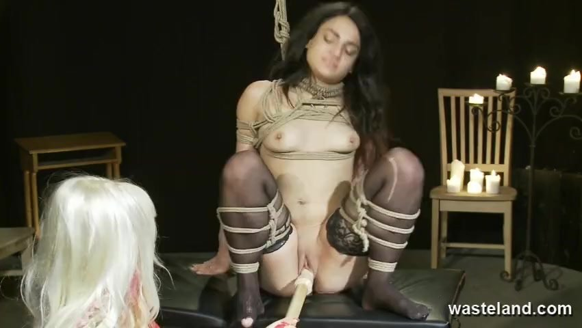 Lesbian Femdom Action With Ropes Bondage And Toys