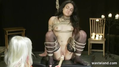 Lesbian Femdom Action With Ropes Bondage And Toys