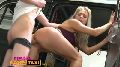 Female Fake Taxi Mechanic gives horny hot blonde a full sexual service