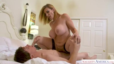 MILF Sara Jay punishes her son's friend with her pussy!