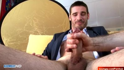 Ludovic, innocent straight guy serviced his cock by us.