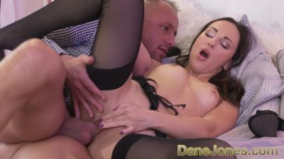Dane Jones Sloppy blowjob and rough sex for petite Russian brunette