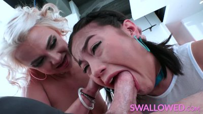 SWALLOWED Kendra and Maria suck his balls dry