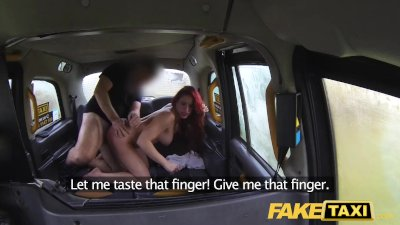 Fake Taxi Busty redhead personal trainer in wild taxi backseat fuck