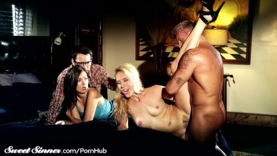 Cadence Lux Spanked and Drilled by Master as Couple Watches