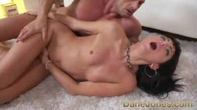 Dane Jones Small tits raven haired Ukraine babe sloppby blowjob and fuck