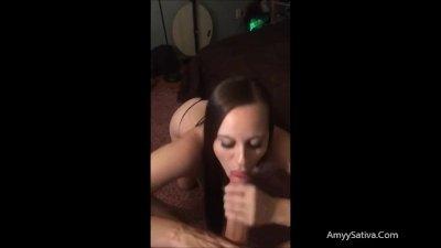 Amyy Sativa Sucks huge cock for Snapchat